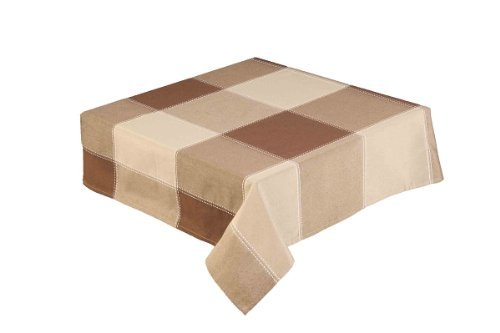 35 INCH SQUARE (89CM) COFFEE AND BROWN LARGE CHECK TABLEC...
