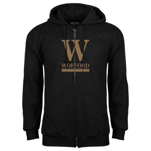 CollegeFanGear Wofford Black Fleece Full Zip Hoodie W Wofford