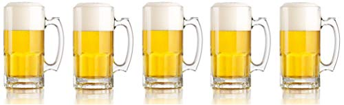 Libbey One Liter German Style Extra Large Glass Beer Stein Super Mug, 34 Ounce (1) (Fivе -