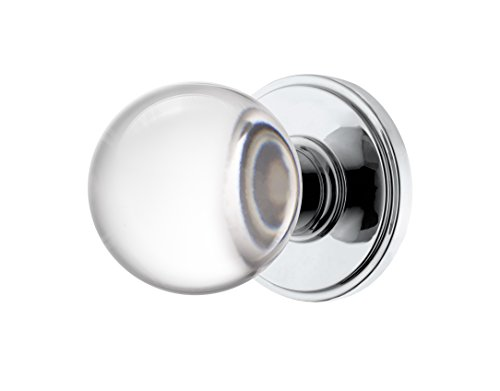 Decor Living, AMG and Enchante Accessories Clear Crystal Ball Door Knobs, Passage Function for Hall and Closet, Apollo Collection, Polished - Crystal Door Knob