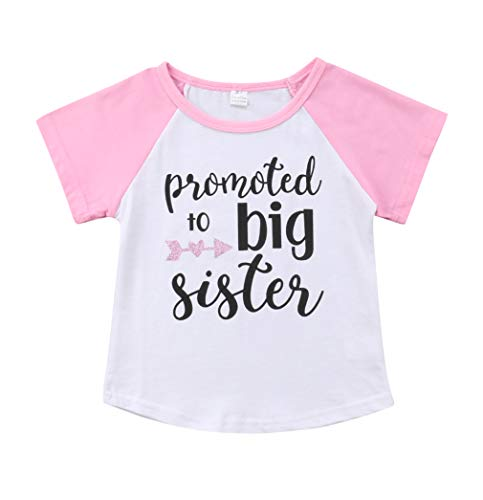Gaono 2019 Baby Girl Clothes Outfit Big Sister Letter Print T-Shirt Top Blouse Shirts (Pink Sleeve, 4-5 Years) ()