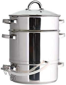 Ribelli Entsafter aus Edelstahl induktionsgeeignet ca. Ø 25 cm ca. 8 Liter Füllvolumen Dampfentsafter mit Glasdeckel schonendes Entsaften von Obst