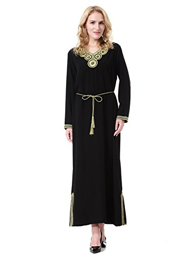 lim Long Sleeves V Neck Kaftan Islamic Maxi Dress Black XXL (Kaftan Long Sleeve)