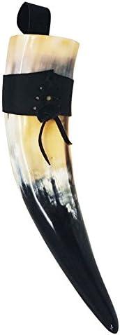 Cuerno vikingo de asta genuina. Cuerno para bebidas de asta pulida con colgador de piel auténtica para el cinturón. De varios tamaños, de 30,5 a 35,5cm (12-14pulg.), etc.