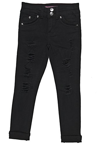 GDP-17-840B - Girls' 6 Pockets Basic Premium Ripped Colored Skinny Jeans in Black Size 10 by Fashion2Love