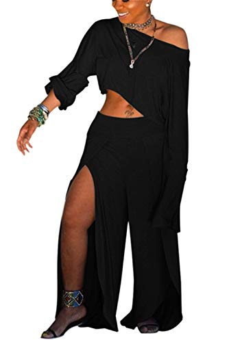 Women's Sexy Two Piece Outfits Loose Solid Crop Top and Split Wide Leg Long Pants Jumpsuits Set