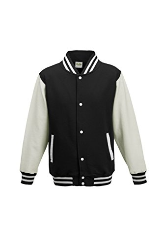 AWDis Hoods Big Boys' Varsity Letterman Jacket Jet Black / White 12 to 13 Years -