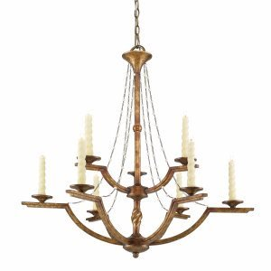 Golden Lighting 3071-9 GG Chandelier with No Shades, Grecian Gold Finish