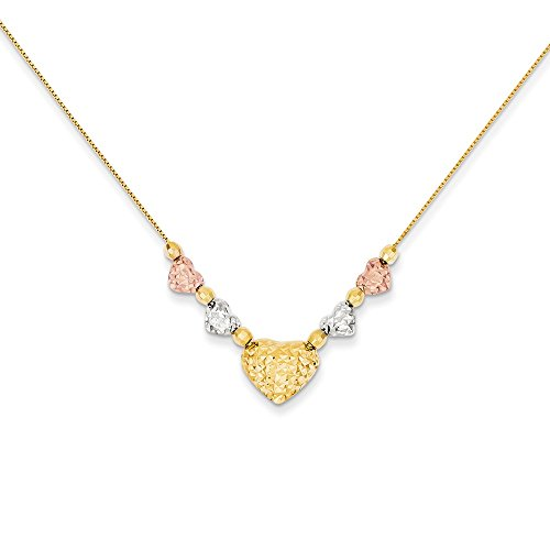 FB Jewels Solid 14K White Yellow And Rose Tri Color Gold Puff & Flat Hearts Necklace