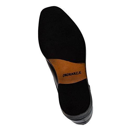 Onoraze Herren Echtes Leder Schuhe in 2 Farben Slipper oder Schnürer #164sw Schwarz