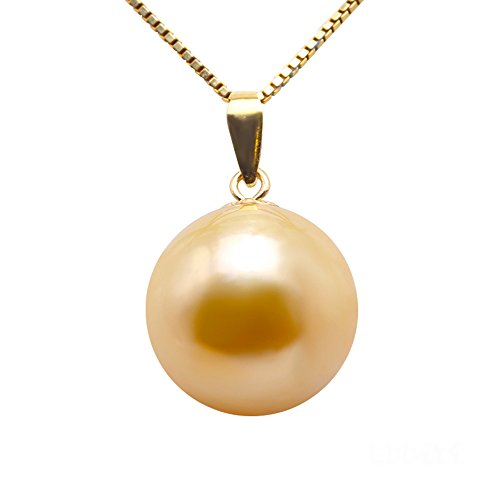 JYX Pearl 18K Yellow Gold Pendant AAA+ Quality 11.5mm Round Golden South Sea Cultured Pearl Pendant Necklace for Women