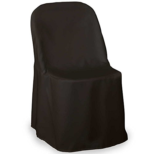 Lannu0027s Linens Premium Polyester Folding Chair Cover   For Wedding Or  Banquet   Black   100pcs