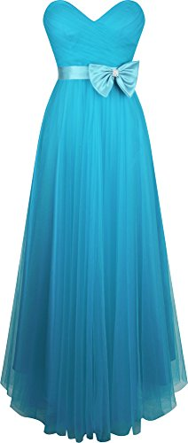 Angel-fashions Women's Sweetheart Pleated Tulle A-line Bow Ball Gown
