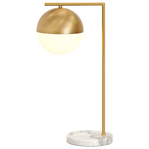 CUICAN Round Ball Table lamp,Simple Post Modern Nordicstyle Marble Base Brass Body Glass Lamp Shade for Bedroom Desk Bedside Table lamp -B 55x23cm(22x9inch)