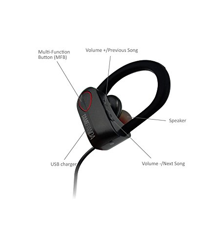 TamePanda Wireless Bluetooth Waterproof Headphone Inspired for Gym / Running with Microphone - Sport - Pao - Black