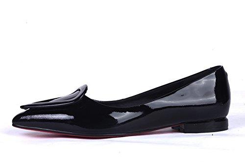 Balamasa Dames Bezaaid Rhinestones Metalen Gespen Mule Lage Hakken Lakleder Pumps-schoenen Zwart