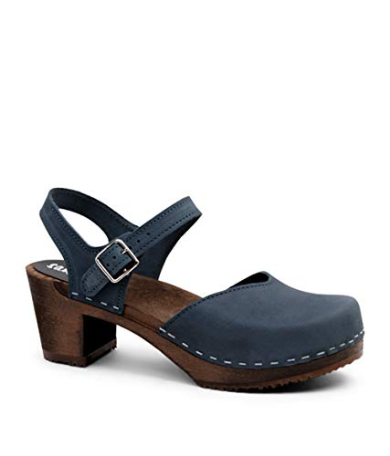 Sandgrens Swedish Wooden High Heel Clog Sandals for Women | Victoria Midnight Blue DK, EU 42
