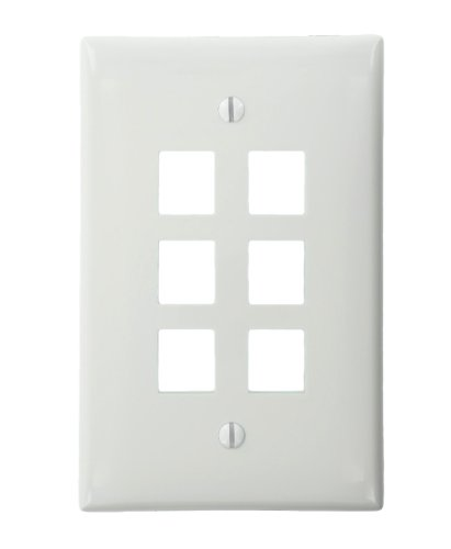 Price comparison product image Leviton 41091-6WN QuickPort Midsize Wallplate, Single Gang, 6-Port, White