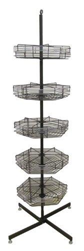 74'' 5-tier Metal Spinning Merchandise Display Retail Sales Basket Bin Rack Spinner Rotary by Enesco