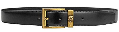 OldYak Men's Retro Tiger Design Pure Copper Pin Buckle Italian Leather Belt (Black Gold, 115cm/45.3inch(40-42)) by OldYak