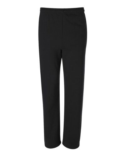 Jerzees Dri-Power Poly Pocketed Open-Bottom Sweatpants, Large - Black Cotton Fleece Straight Leg Pant