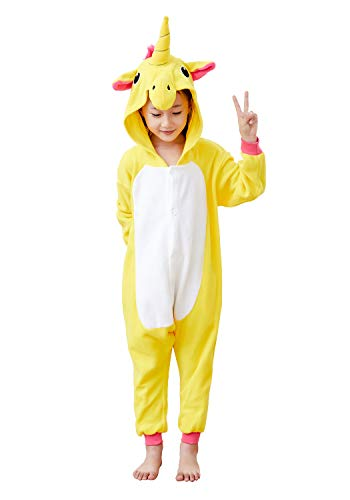 Comfy New Kids Unisex Animal Onesies Yellow Unicorn Pajamas Cosplay Outfit Halloween Costume One-Piece Birthday Gifts 8-10 Years