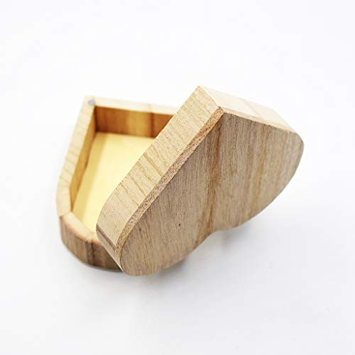 Xeminor Wooden Storage Case Durable Wooden Trinket Box Heart Trinket Box Plain Wooden Case Wooden Crafts Case for Trinket Jewellery Gift 1 Pcs by Xeminor (Image #1)