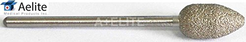 """A+Elite PEAR Genuine Diamond Bur 3/32"""" Stainless Steel Professional Podiatry Chiropody Pedicure Manicure Nail Reduction Drill Bit"""