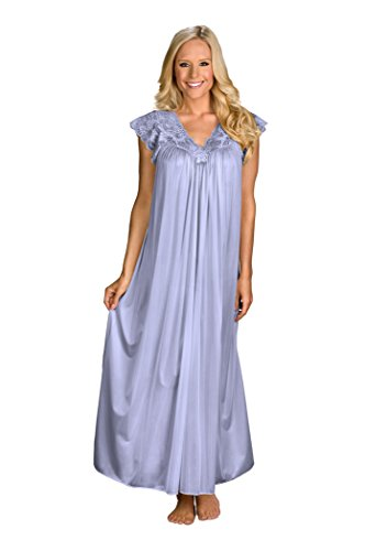 (Shadowline Women's Silhouette 53 Inch Short Cap Sleeve Long Gown, Peri Frost, Large)