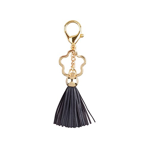 Leather Tassel Keychain Bag Charm Fob with Star Keyring (Navy) ()