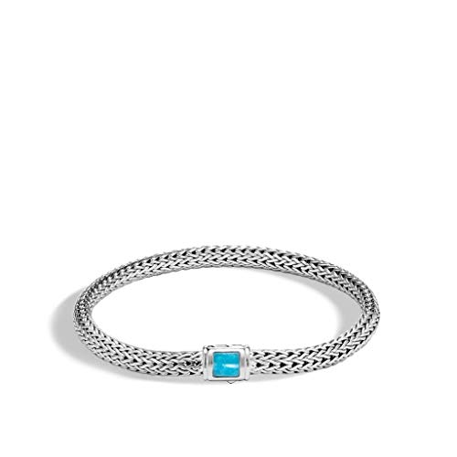 John Hardy Women's Classic Chain Silver Chain Bracelet with Pusher Clasp with Rectangle Turquoise, Size M - BBS961841TQXM ()