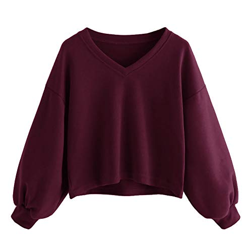 iDWZA Women Pure Color Cute Drop Shoulder Lantern Sleeve Sweatshirt Pullover Top(M,Wine)