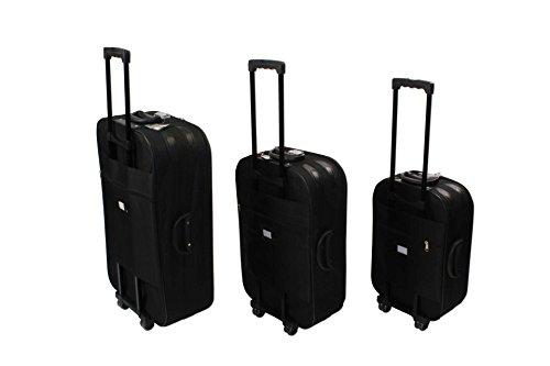 Koffer Set EVA Trolley 3-er Polyester in schwarz Reisekoffer