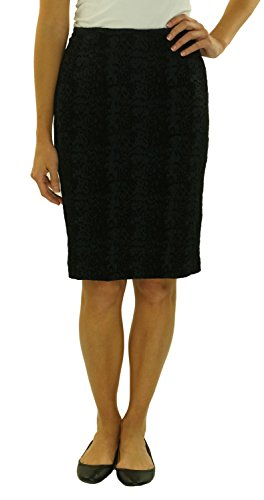 Calvin Klein Womens Jacquard Lined Pencil Skirt Black 6 (Fully Velvet Lined Skirt)