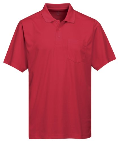Tri-Mountain Men's 5 oz Moisture Wicking Polyester Shirt w/Pocket Red 4X Tall