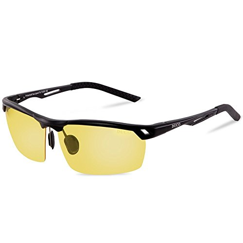 DUCO Men's Sports Style Night Vision Driving Glasses for Headlight Anti-Glare Polarized Eyewear 8550 (Black Frame Yellow Lens)