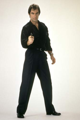 Timothy Dalton In Licence To Kill In Black Pointing Gun As James