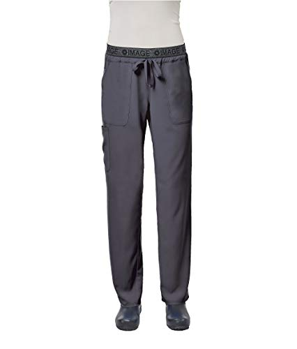 - IMAGE by Alexander's Uniforms IM1310 Women's Yoga Style Imprinted Waistband Pant (Pewter, Medium)