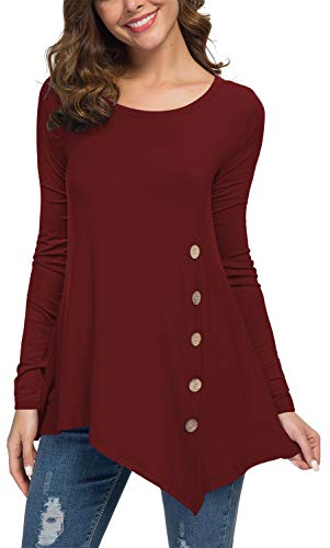 Viishow Women's Long Sleeve Casual Round Neck Loose Tunic Top Blouse T-Shirt with Buttons Wine Red L