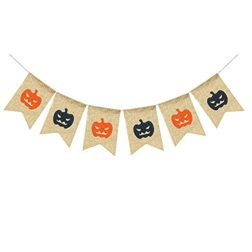Uniwsh Pumpkin Faces Banner Burlap Sign Happy Halloween Decorations, Vintage Rustic Trick or Treat Bunting Orange and Black Party Supplies