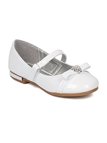 Alrisco Girls Rhinestone Heart Bow Tie Mary Jane Ballet Flat HB74 - White Patent (Size: Little Kid 2)
