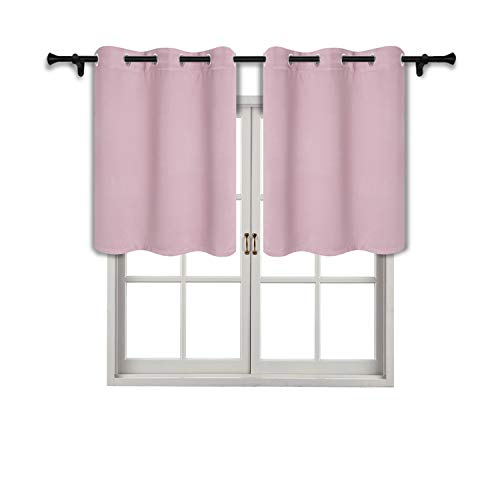 SUO AI TEXTILE Room Darkening Curtains for Small Window-Grommet Thermal Insulated Tier Valance for Living Room 42x36 Inch Baby Pink 2 Panels