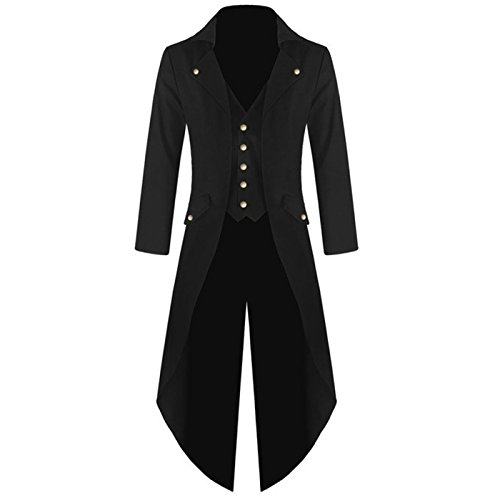 Mens Gothic Tailcoat Steampunk Jacket Victorian Costume Men's Tuxedo Suit Halloween Party