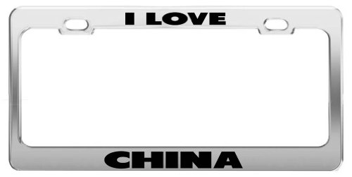 I LOVE CHINA Chrome Metal License Plate (Lane Bone China)