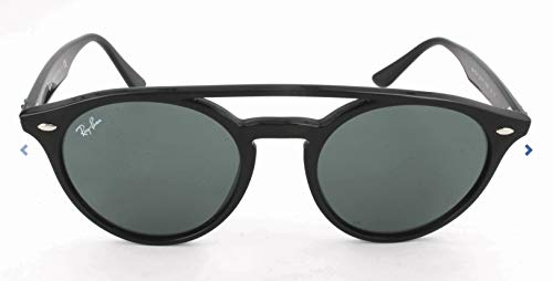 Ray-Ban Injected Unisex Sunglass Round, Black, 51.6 ()