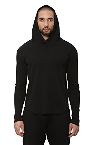 Uncommon Thrds Mens Thermal Scooped Hem Hoodie Black - X Large by UNCOMMON THRDS