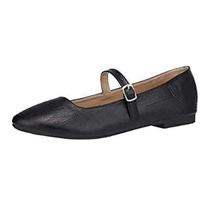 CINAK Flats Mary Jane Shoes Women's Casual Comfortable Walking Buckle Classic Ankle Strap Style Ballet Slip On