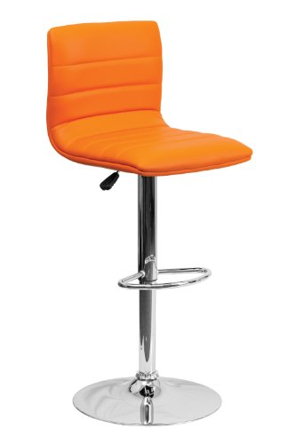 Flash Furniture Contemporary Adjustable Barstool in Orange