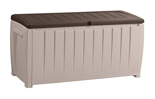 Keter Novel Plastic Deck Storage Container Box Outdoor Patio Furniture 90 Gal, Brown (Seat Outdoor Box Storage)