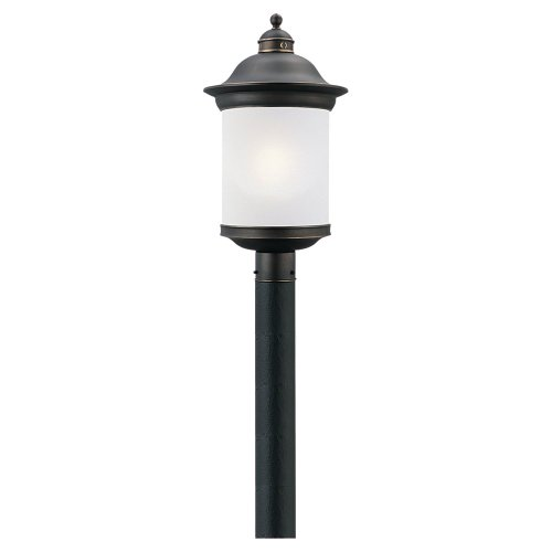 Sea Gull Lighting 89298BL-71 Hermitage - One Light Outdoor Post Lantern, Antique Bronze Finish with Frosted Glass (Antique Lamp Post)